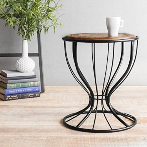 Desi Karigar Wooden & Wrought Iron Stool/Chair ( Black, 12 x 16 inch )