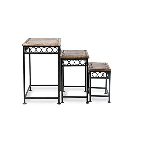 Desi Karigar Home Decor Fancy Design Wood & Iron Table Set Of 3 Size(LxBxH-17x14x23.5) Inch