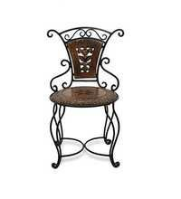 Desi Karigar Wooden & Iron Antique Design Chair Size(LxBxH-13x13x24) Inch