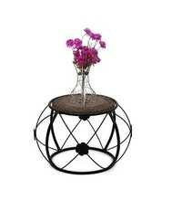 Desi Karigar Wooden & Iron Stool/Table Home Decor Size(LxBxH-13x13x12) Inch