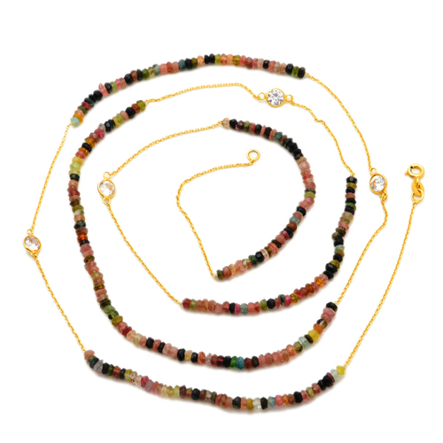 Gemstone Gold Plated Beads Necklace