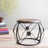Desi Karigar Wooden & Wrought Iron Stool/Chair ( Black, 12 x 12 x 15 inch )