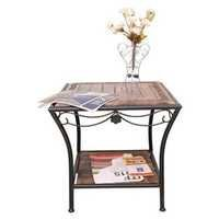 Desi Karigar Wood & Iron cum End Table Size(LxBxH-19x19x19) Inch