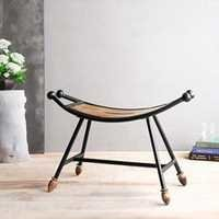 Desi Karigar Wooden & Wrought Iron Stool/Chair ( Black, 25 x 9 x 12 inch )