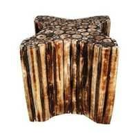 Desi Karigar Wooden Star Shape Stool/Chair/Table Made From Natural Wood Blocks 12 inch