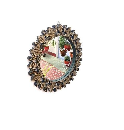 Desi Karighar Beautiful Design Mirror With Wooden Frame Size (LxBxH-16x1x16) Inch
