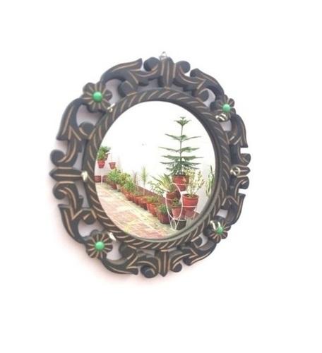Desi Karigar Wooden Wall Decor Key Holder With a Mirror
