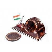 Desi Karigar Wooden Big Tea/Coffee Coaster With Indian Flag