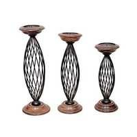 Desi Karigar Antique Wood & Iron Candle Stands Set of 3 Size(Large-18h,Medium-16h,Small-13h) Inch