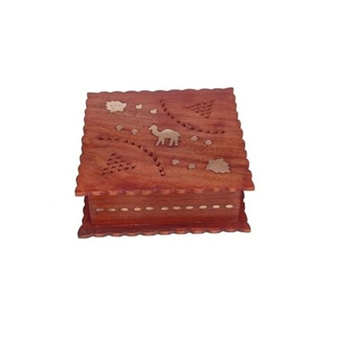 Desi Karigar Wooden Antique Jewellery Box with Brass Carving Design