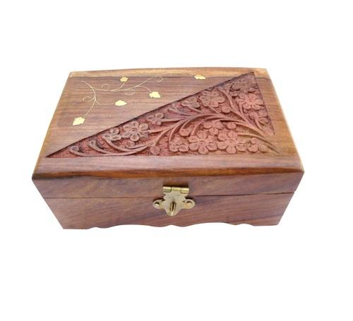 Dersi Karigar Wooden Hand Carved Jewelery Box ( Brown, 6 x 4 x 2 inch )