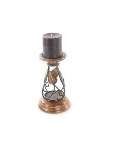 Desi Karigar Wood Carvers Wooden Candle Stand Leaf Design