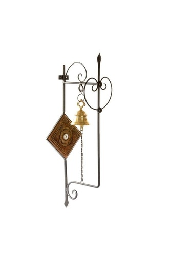 Desi Karigar Wooden Wrought Iron Brass Bell Wall Mounted Home Decor