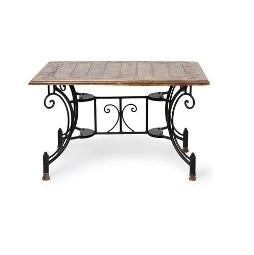 Desi Karigar Wood & Iron Handmade Design Coffee Table Size(LxBxH-30x20x18) Inch