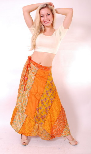Silk Magic Wrap Skirt  Long Sari Around skirts