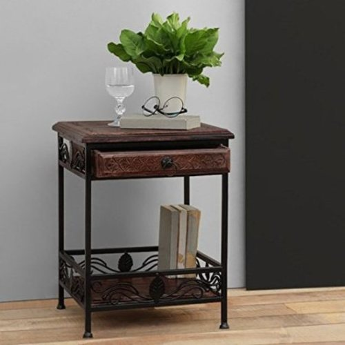 Desi Karigar Wooden And Iron End Table Walnut And Black Size(LxBxH-14.5x14.5x19) Inch