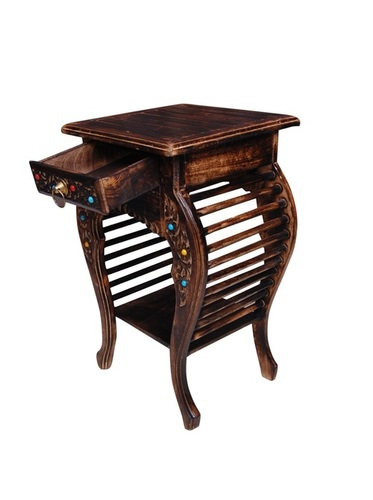 Desi Karigar Wooden Hand Carved Side Table, Stool Antique Look