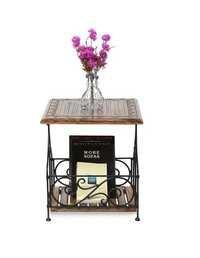 Desi Karigar Wood & Iron Handmade Design End Table Size(LxBxH-17x17x20) Inch