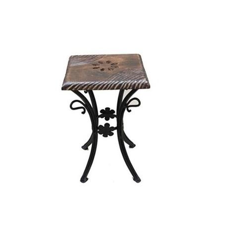 Desi Karigar Wooden & Wrought Iron Stool/Chair (Black, 10 X 10 X 12 Inch)