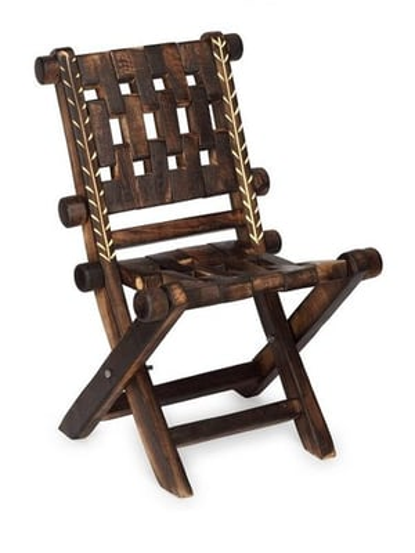 Desi Karigar Vintgae Low Height Wooden Rope Lounge Chair