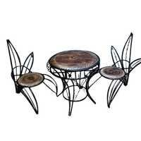 Desi Karigar Four Wooden And Wrought Iron Chair In Unique Design With Center Table