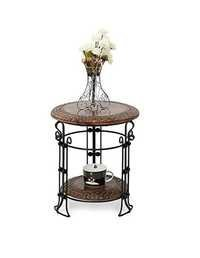Desi Karigar Wooden & Iron Fancy Home Decor Table Size(LxBxH-14x14x15.5) inch