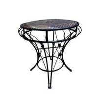Desi Karigar Wooden And Wrought Iron Table In Unique Design