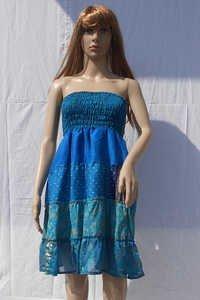 Vintage Saree Silk Tiered Summer Dress