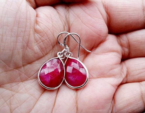 Sterling Silver Ruby Earring