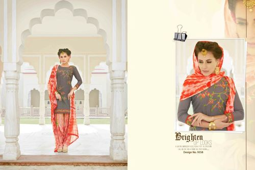Shop Cotton Embroidered Patiyala Suit Online