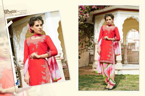 Shop Cambric Cotton Embroidered Patiyala Suit Online