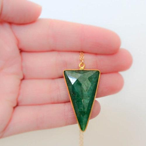 Emerald Gold Plated Bezel Necklace