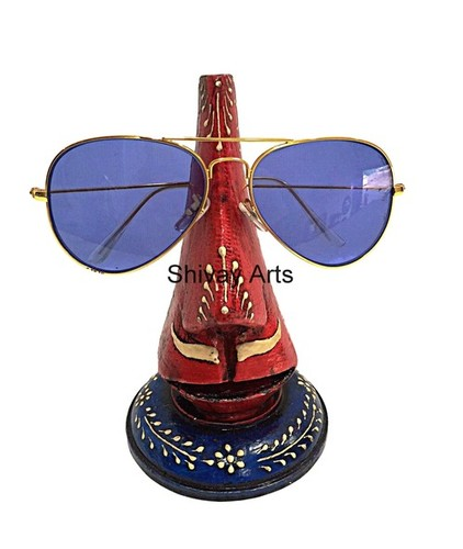 Wooden Handcrafted Fine Embossed Spectacle Holder Goggle stand sunglasses stand Chashma Stand