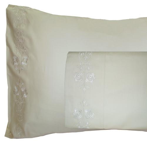Rosette Ivory Bed Sheet
