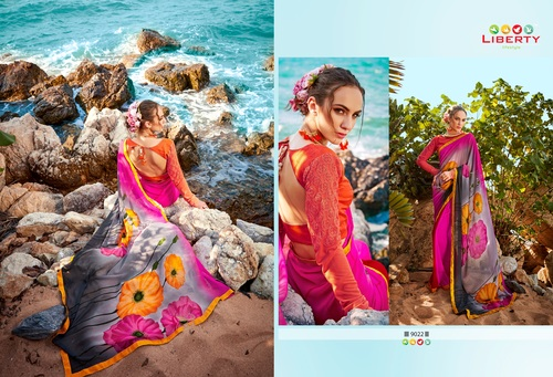 Hand Printed Digital Printed Saree