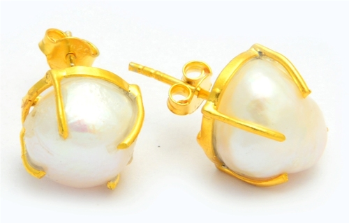 Pearl Gold Plated Prong Set Earring