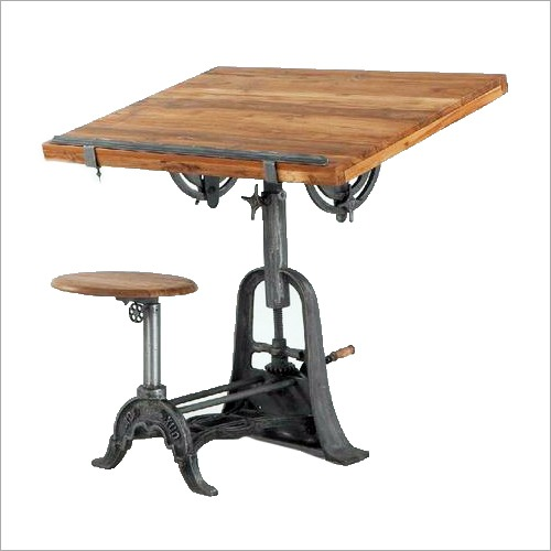 industrial study table with chair