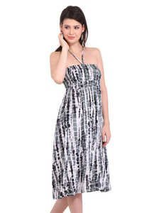 Resort Wear Dresses Rayon Tie-Dye 2 In 1 Black Dresses and Skirt