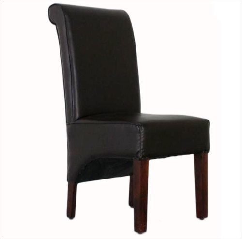 Dining Chair Fully Upholstery With Combination Of Leatherette & Canvas