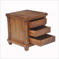 Bed Side Table With Three Drawer In Teak Wood