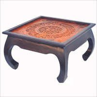 Opium Leg  Coffee Table With Carved Wooden Top With Glass Top