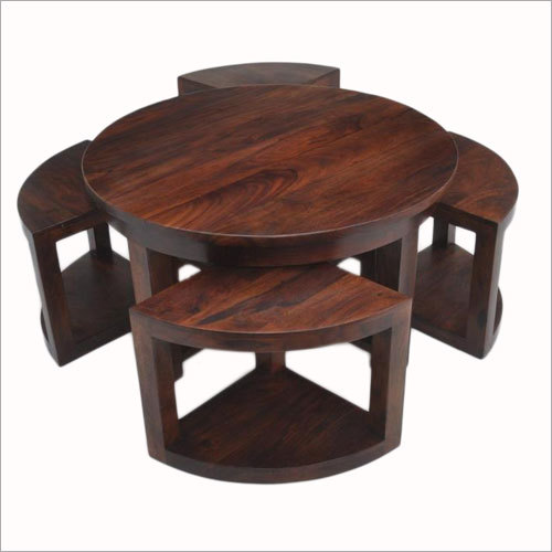 Round Coffee Table With 4 Nested Chair