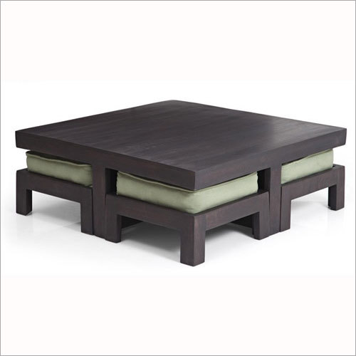 Square Coffee Table With 4 Stool  With Cushion Seat