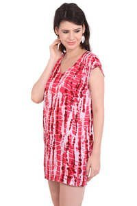 Rayon Solid Tie-Dye Casual Wear Red Dress