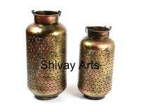 Metal Iron Handcrafted Copper Jali Cylindrical Shape Tealight Candle Holder - Set Of 2