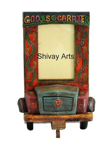 Wooden Multicolor Truck Photo Frame Photo Stand