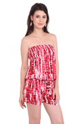 Rayon Party Wear Tie-Dye Red Color Jumpsuit