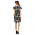 Poly Crepe Women Fit and Flare Checked Black Dress