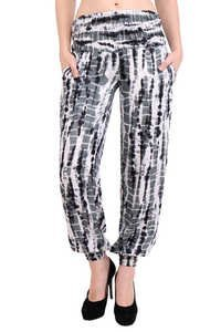 Rayon Tie Dye Black Pockets Beachwear Slim Fit Trouser