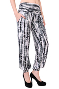 Rayon Tie Dye Black Pockets Beachwear Slim Fit Trouser